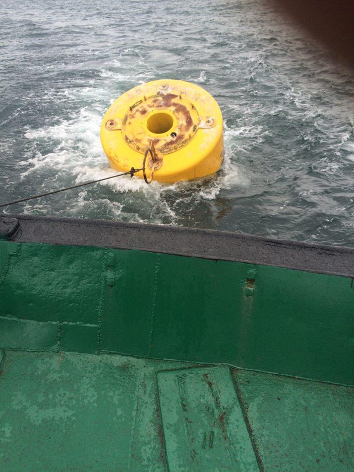 Dragging a broken navigational buoy